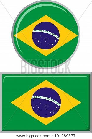 Brazilian round and square icon flag. Vector illustration.