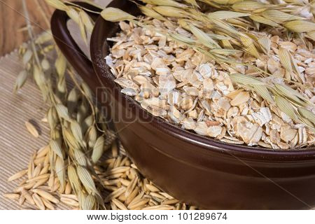 Rolled Oats And Oat Stalks