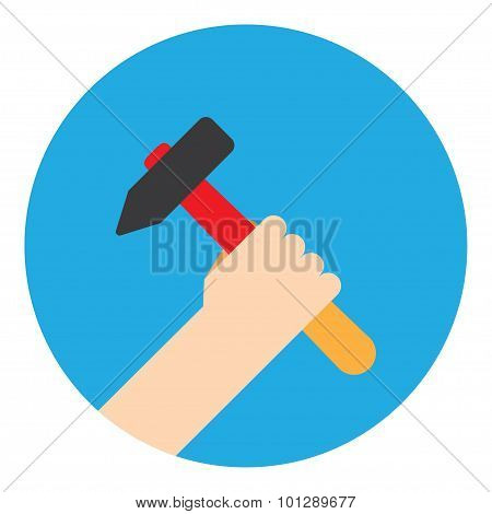 symbol hand with hammer