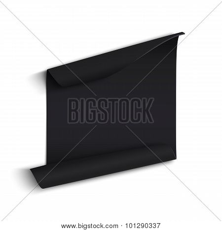 Black curved paper banner.