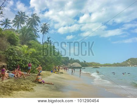 People At Cabo San Juan Beach In Colombia