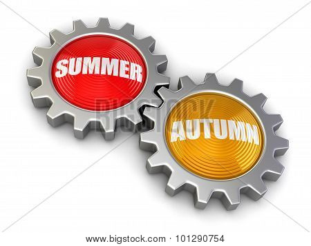 Gears with Autumn and Summer (clipping path included)