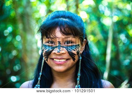 Brazilian cute indian girl in Amazon, Brazil
