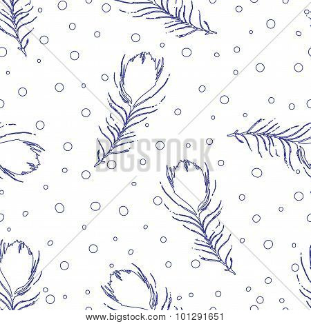 Vector Seamless Pattern. Vintage White Background With Abstract Peacock Feathers And Dots.