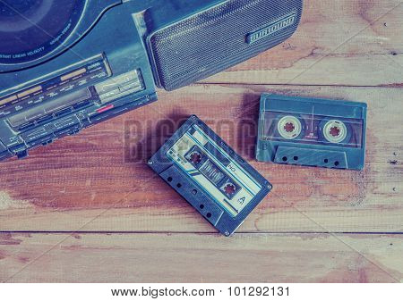 The Old Cassette Tape And Player ,vintage Style