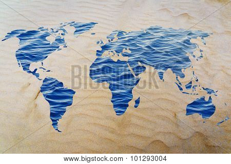 Save Water: Surreal Map Of The World With Sea Pattern Inside Continents
