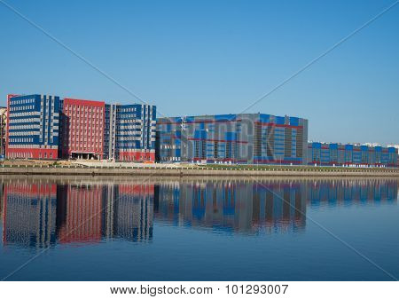 reflections on the Neva river of new buildings