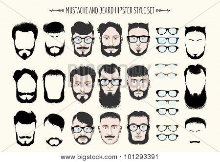 Mustache And Beard Hipster Fashion Set