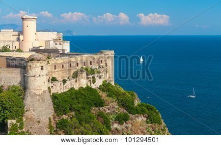 Castle On Mediterranean Sea Coast. Gaeta, Italy