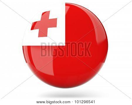 Round Icon With Flag Of Tonga
