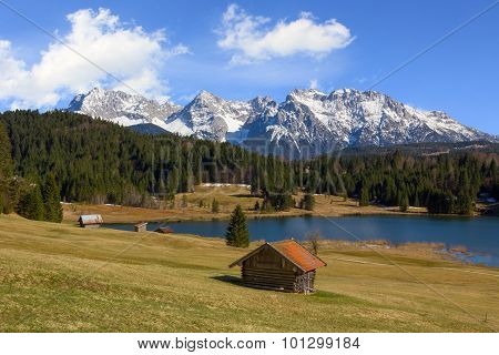 Pictorial Spring Landscape Lake Gerold And Karwendel Mountains