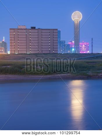 Reunion Tower In Downtown Dallas, Texas Reflecting In Trinity River