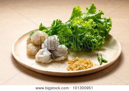 Steamed Rice-skin Dumpling, Thai Style Dessert, Thai Tapioca Made From Glutinous Rice Filled With Mi
