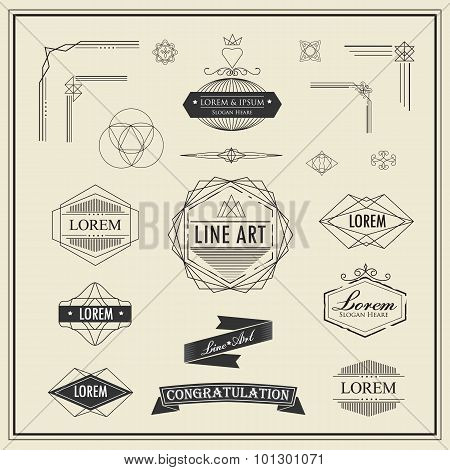 Set Of Retro Vintage Linear Thin Line Art Deco Design Elements Geometric Shape With Frame Corner Bad
