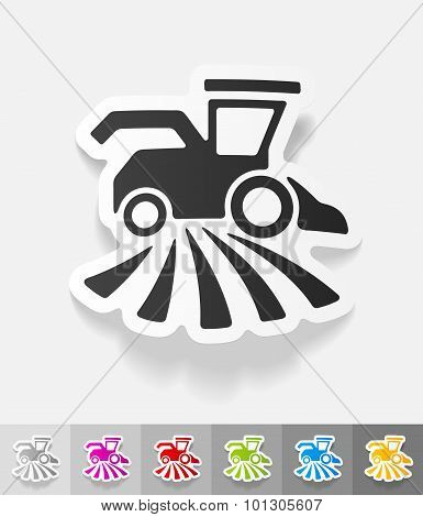 realistic design element. combine-harvester