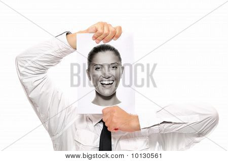 Female Head In The Hands Of A Businessman