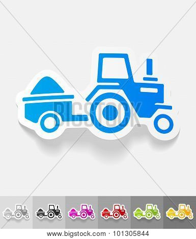 realistic design element. tractor with trailer