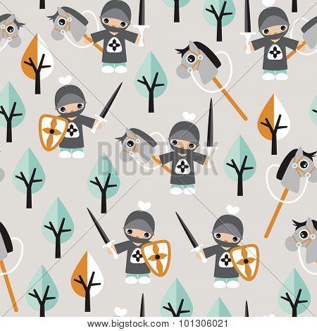 Seamless boys kids little knights and horses fun prince theme black mint gray and orange illustration background pattern in vector