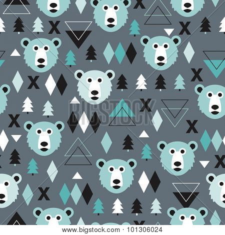 Seamless kids polar bear and geometric abstract mountain arctic winter wonderland illustration pattern in ice blue background in vector