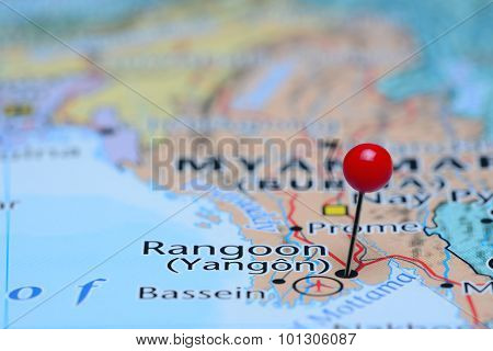 Rangoon pinned on a map of Asia