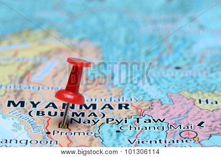 Naypyidaw pinned on a map of Asia