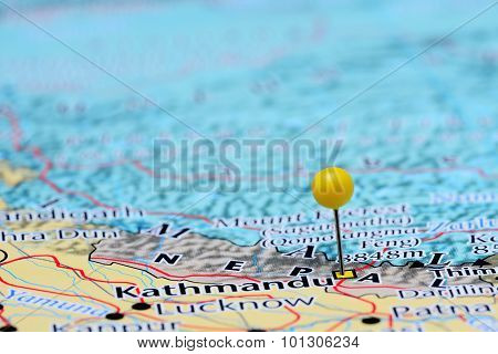 Kathmandu pinned on a map of Asia