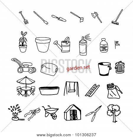 Illustration Vector Doodles Hand Drawn Objects In Backyard Garden