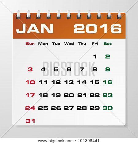 Simple 2016 year vector calendar January 2016