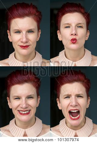 Multiple Images Of Redhaired Woman