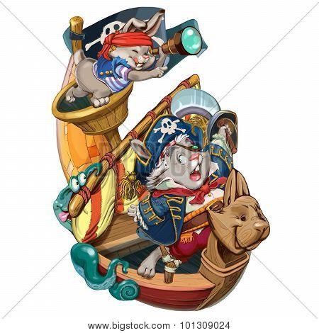 Cartoon Hares Pirates Go On A Boarding.