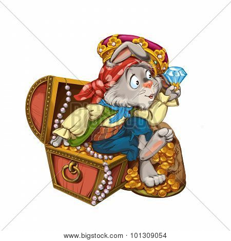 Cartoon Hare Pirate Sits On A Chest With Jewelry.