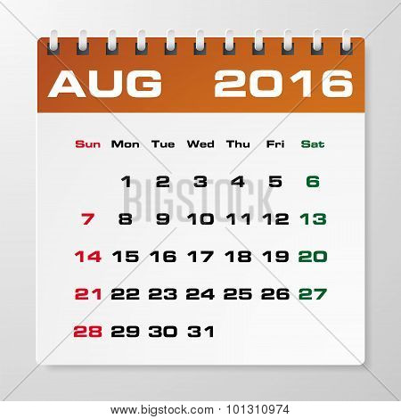Simple 2016 year vector calendar August 2016