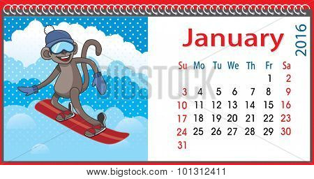 Horizontal Calendar With A Monkey In January