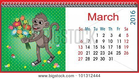 Horizontal Calendar With A Monkey In March