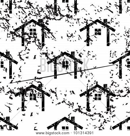 Cottage pattern, grunge, monochrome