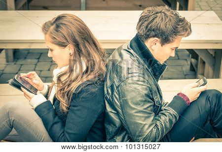 Couple In A Modern Common Phase Of Mutual Disinterest And Sadness - Concept Of Apathy Connected