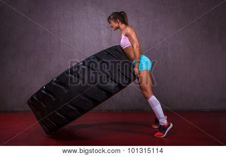 Flipping tire