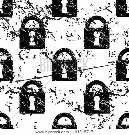 Locked padlock pattern, grunge, monochrome