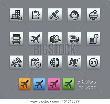 Shipping and Tracking Icons  The vector file includes 5 color versions for each icon in different layers ----