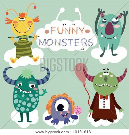 Vector Set With Cartoon Cute Monsters
