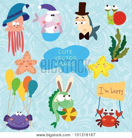 Cartoon Vector Set With Fishes (sea Vector Elements).childish Illustration