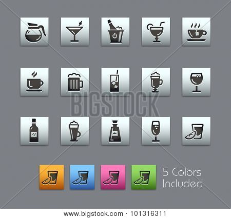 Drinks Icons  The vector file includes 5 color versions for each icon in different layers ----