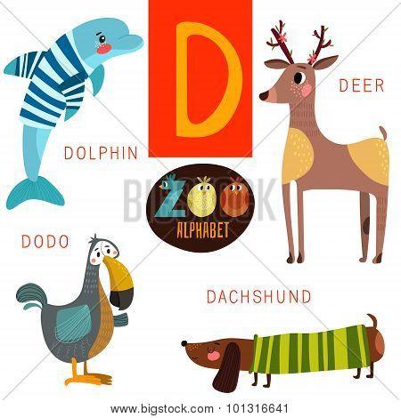 Cute Zoo Alphabet In Vector.d Letter. Funny Cartoon Animals:dolphin,deer,dodo,dachshund . Alphabet D