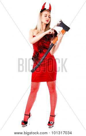 Demon Checking The Blade Of An Axe Isolated Over White Background