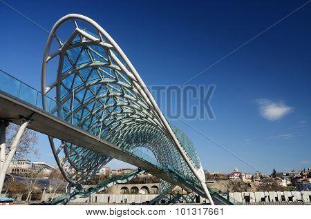 Modern Futuristic Bridge Of Peace Over Mtkvari River Intbilisi,georgia,transcaucasia