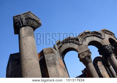 Column With Eagle Figure At Zvartnots (celestial Angels) Temple Ruins Near Echmiadzin,armenia