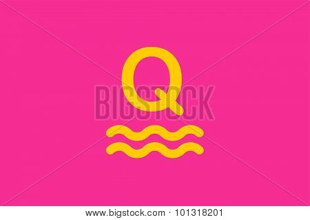 Q letter vector. Q logo icon monogram. Q symbol silhouette. Q isolated icon, Q line style letter, Q logotype, Q logotype, Q modern symbol, Q company brand name. Sea waves, sailor, round, circle