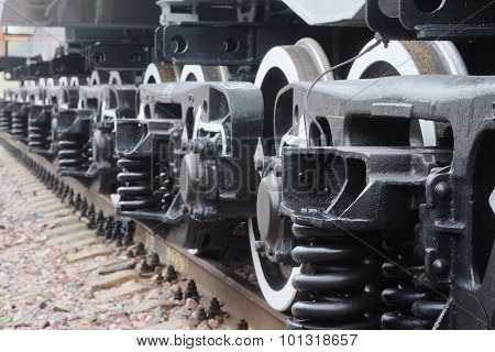 Close up view of a train wheels