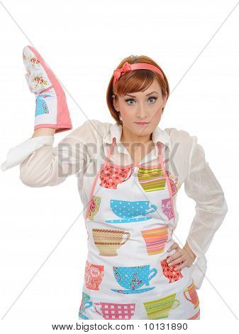 Expressions. Beautiful Cooking Woman In Apron And Kitchen Glove Having Problem. Isolated On White Ba
