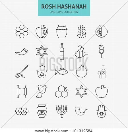 Line Jewish New Year Holiday Icons Big Set